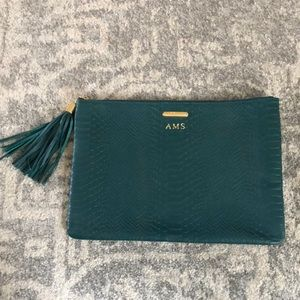 GiGi New York Snakeprint Leather Clutch in Green